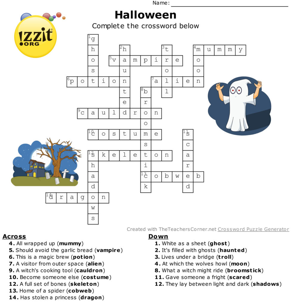 Halloween Crossword Answers   Hard #happyhalloween ???