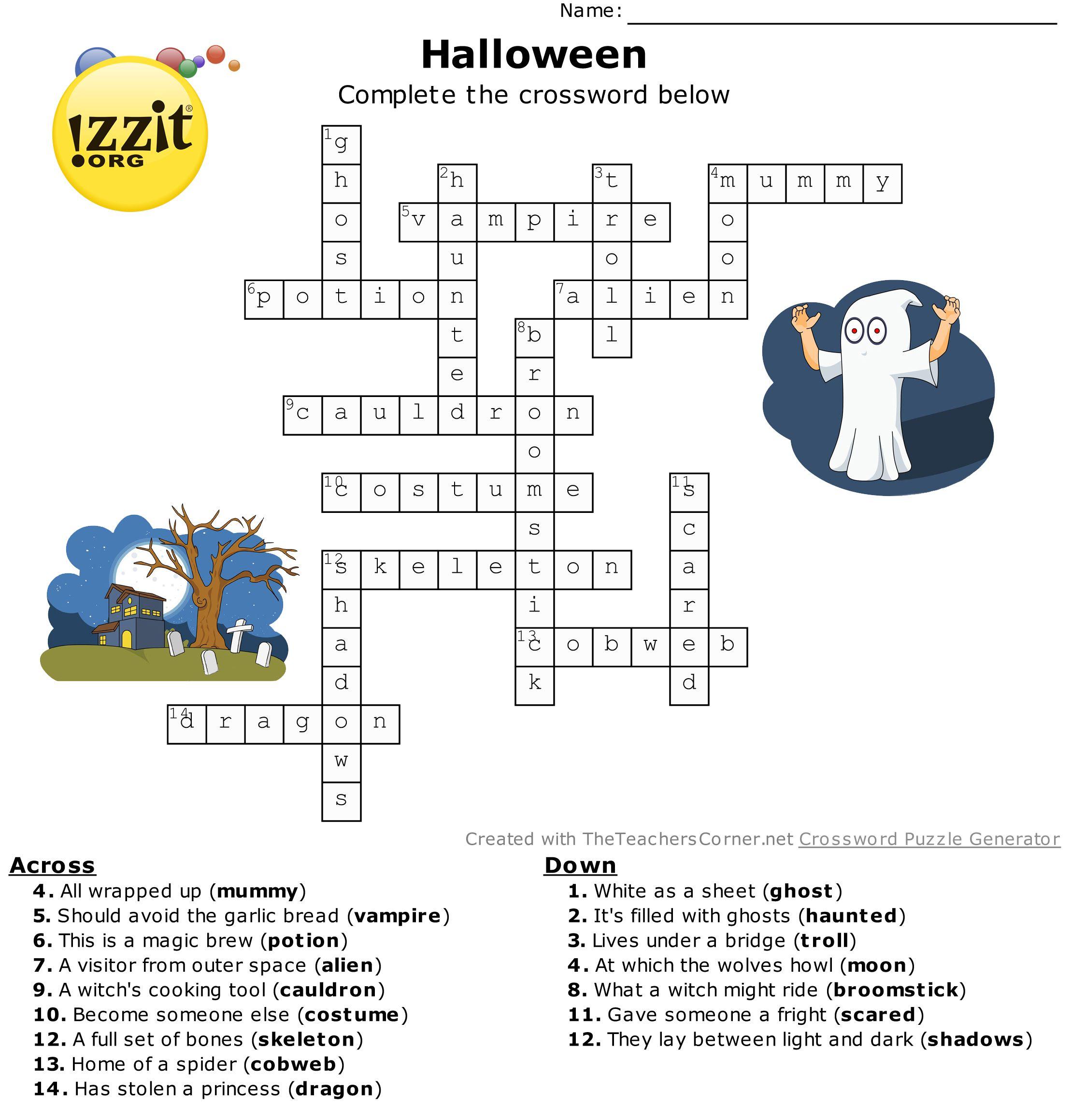 Halloween Crossword Answers - Hard #happyhalloween ???