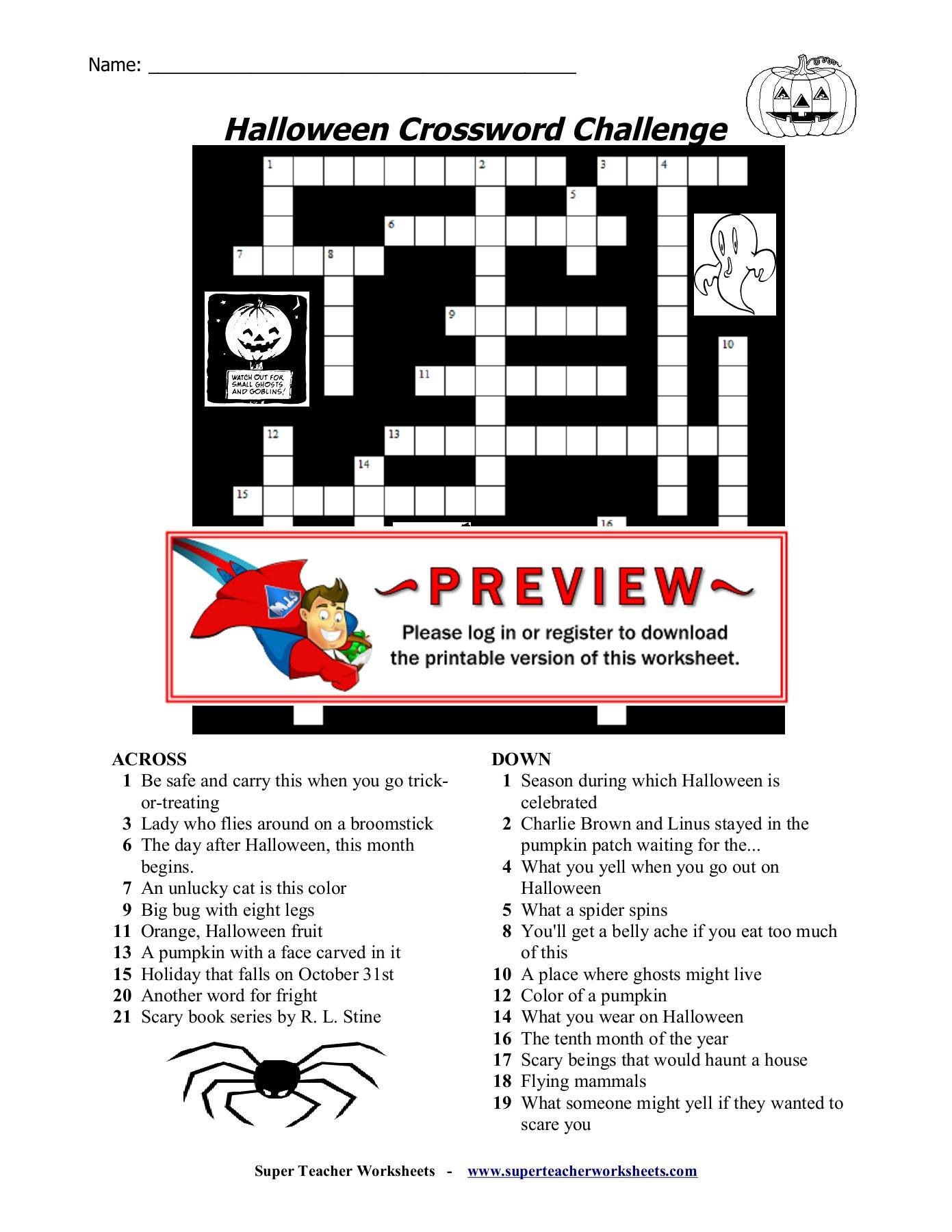 Halloween Crossword Challenge - Super Teacher Worksheets
