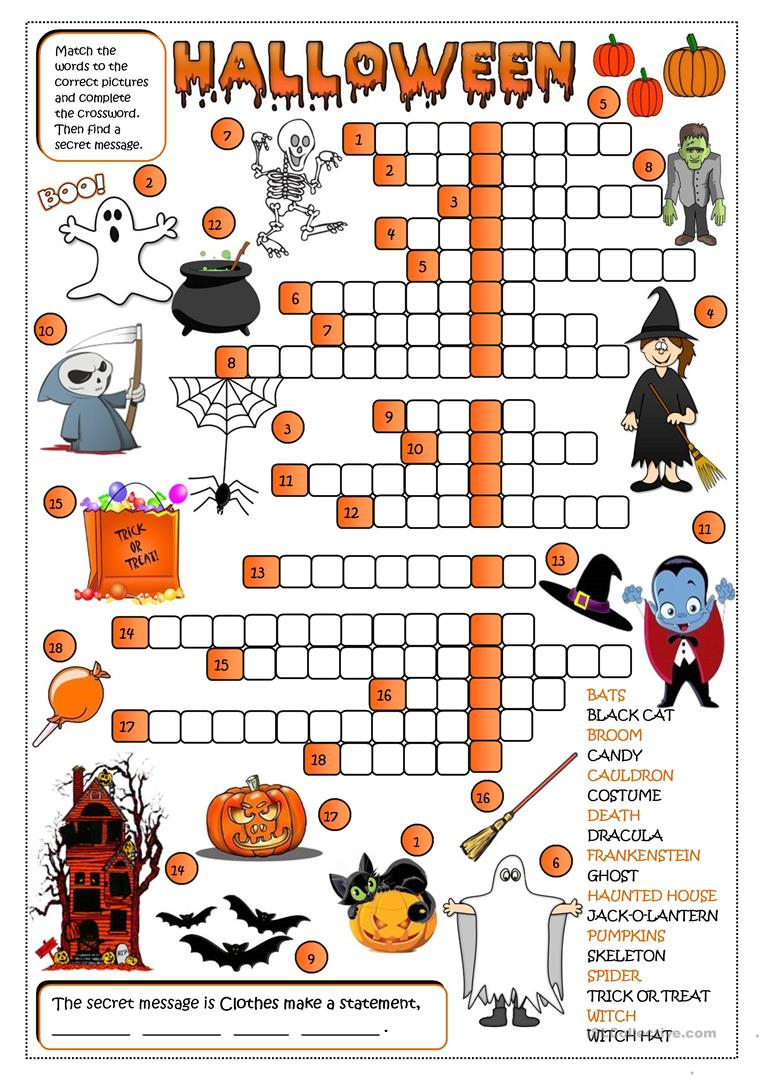 Halloween - Crossword - English Esl Worksheets For Distance
