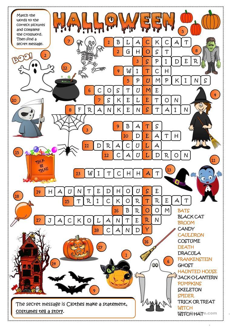 Halloween - Crossword - English Esl Worksheets For Distance