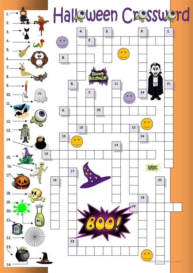 Halloween Crossword For Beginners - English Esl Worksheets