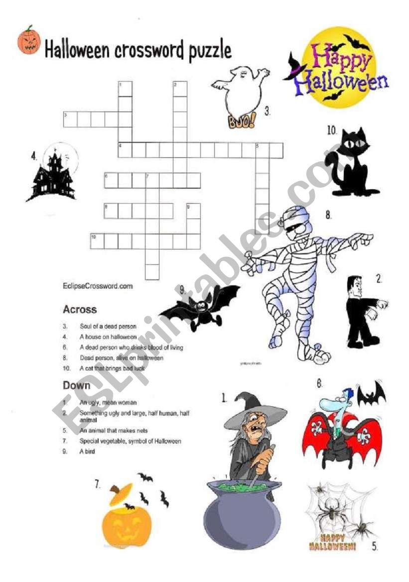 Halloween Crossword Puzzle - Esl Worksheetmojcafurlan
