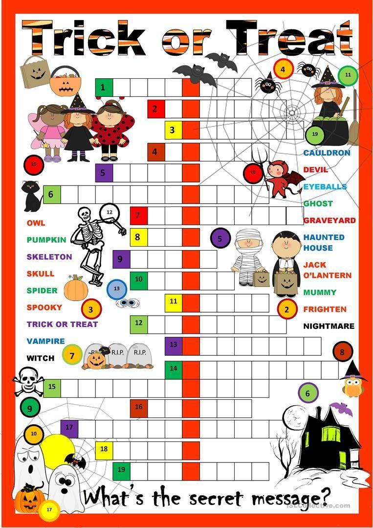 Halloween Crossword Puzzle Worksheet - Free Esl Printable