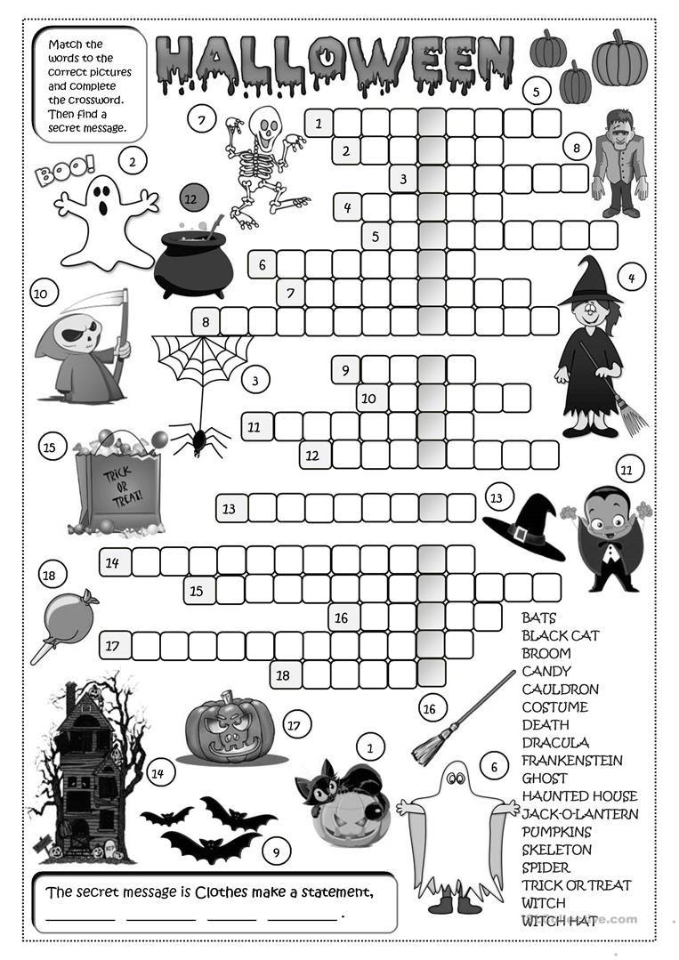 Halloween - Crossword Worksheet - Free Esl Printable