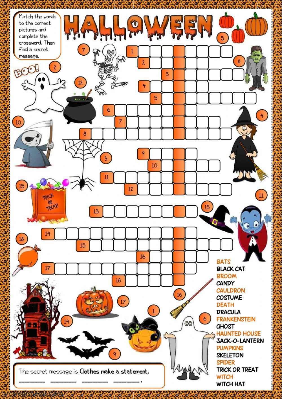 Halloween - Crossword Worksheet