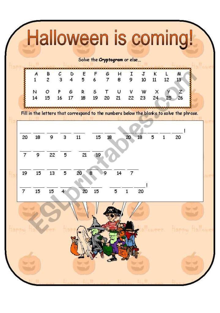 Halloween Cryptogram   Esl Worksheetanna P