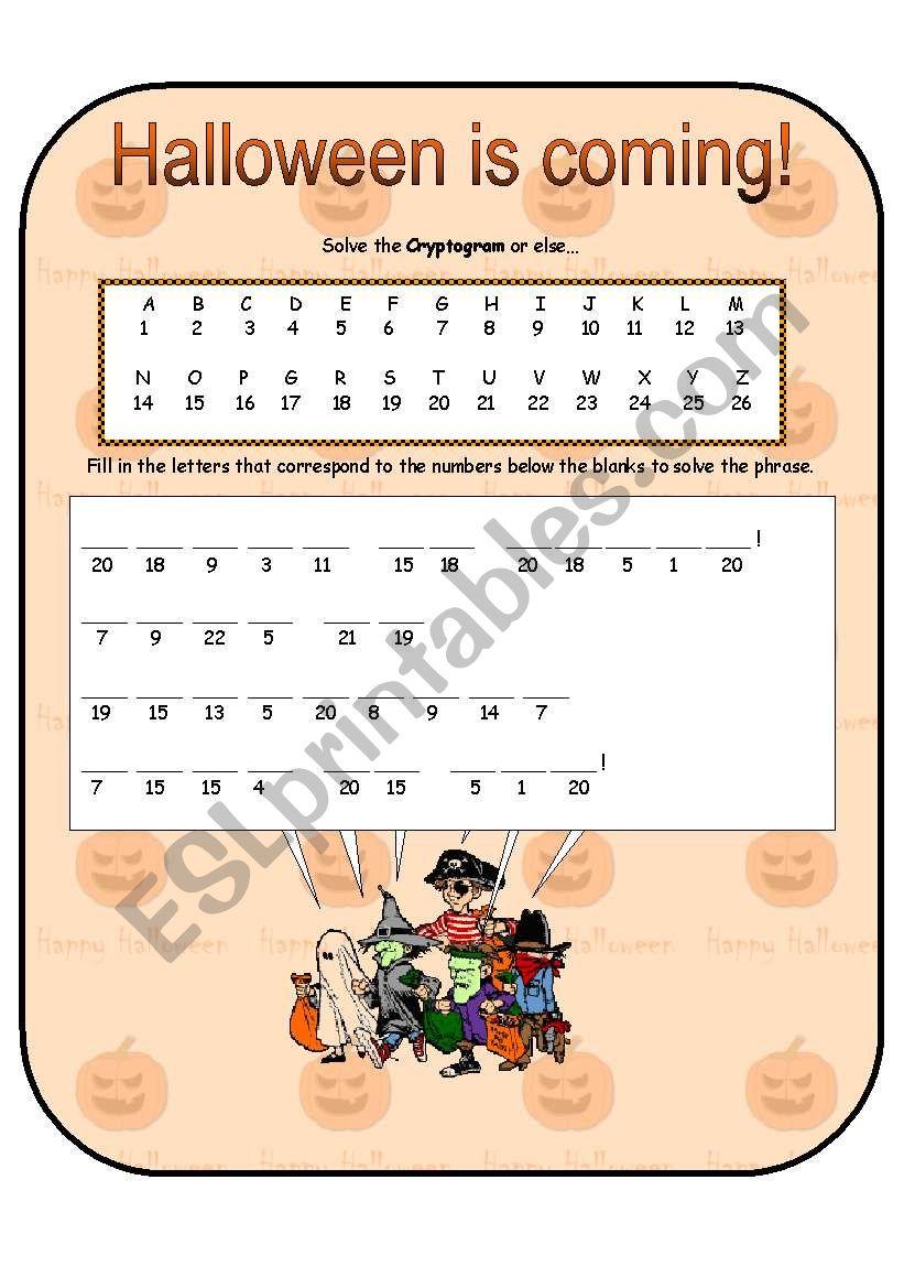Halloween Cryptogram - Esl Worksheetanna P