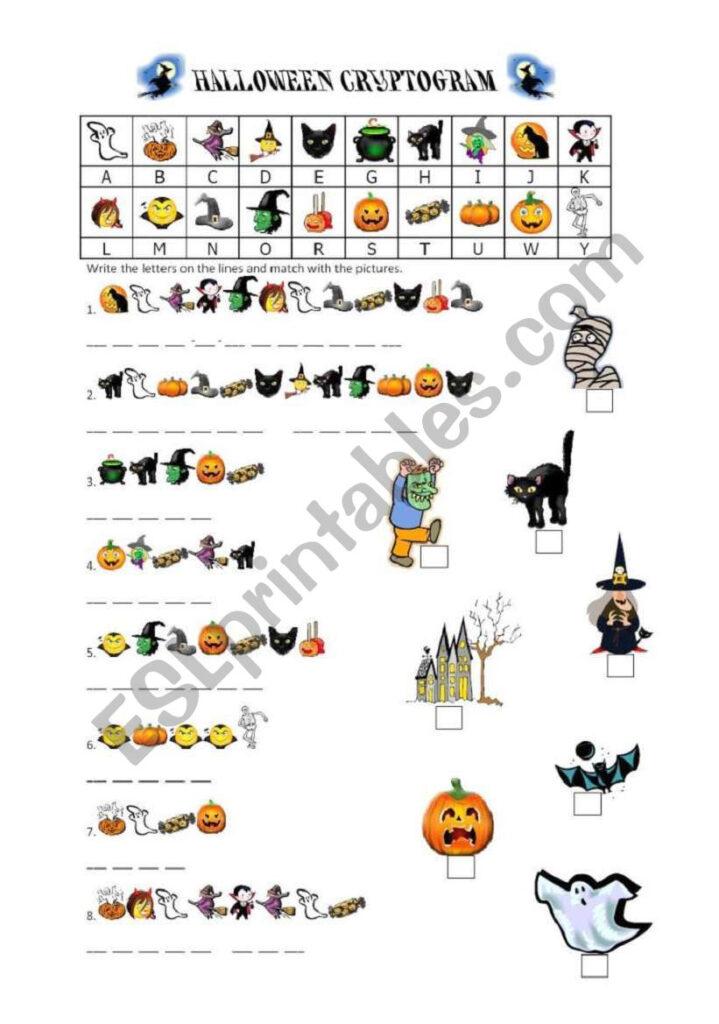Halloween Cryptogram   Esl Worksheetbaby V