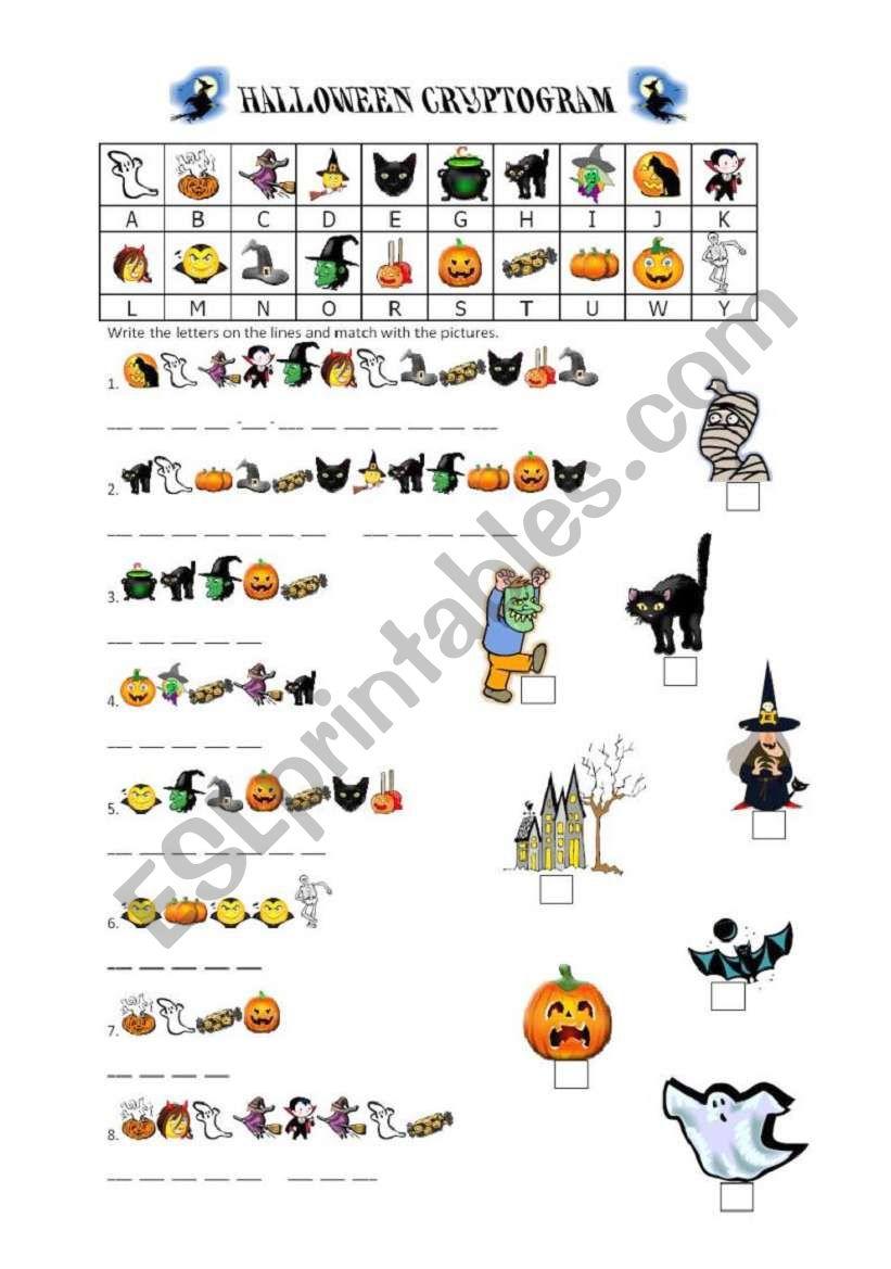 Halloween Cryptogram - Esl Worksheetbaby V