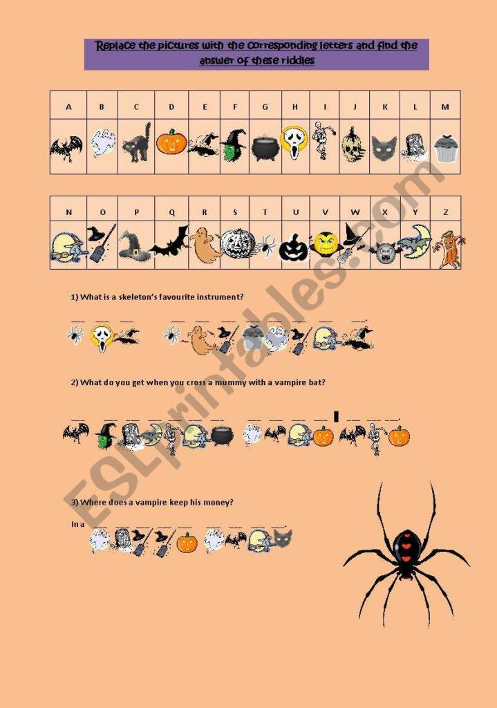 Halloween Cryptogram Riddles   Esl Worksheet