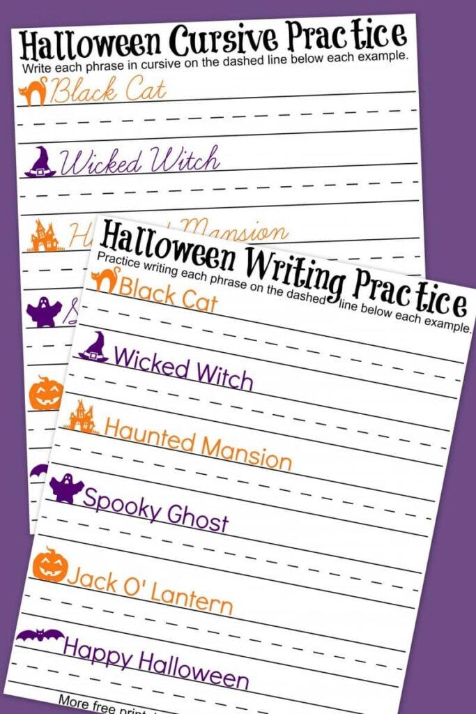 Halloween Cursive + Handwriting Practice Worksheets   A