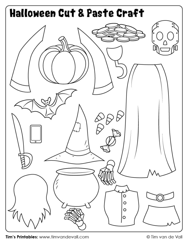 Halloween Cut And Paste Craft 03   Tim's Printables