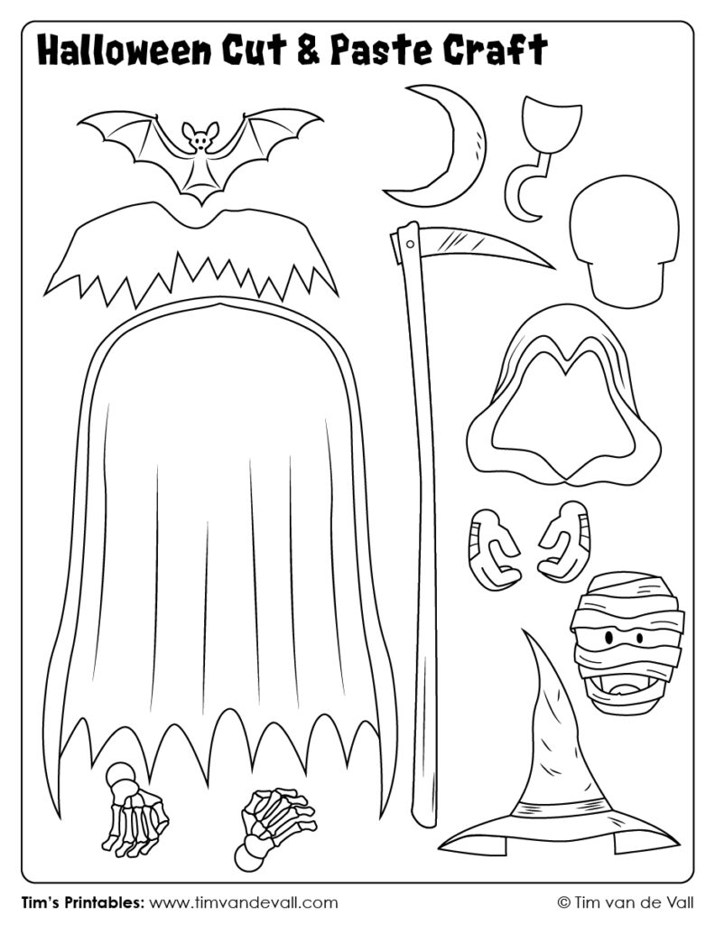 Halloween Cut And Paste Craft 06   Tim's Printables