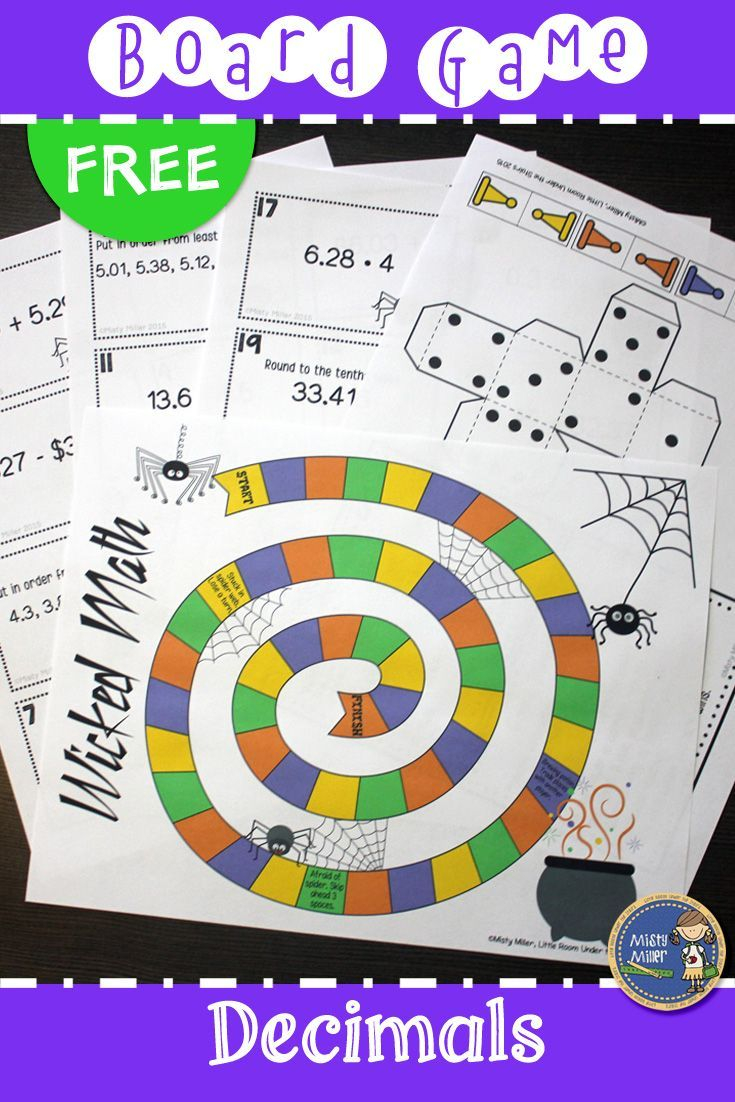 Halloween Decimals Board Game {Free}   Math Games Middle
