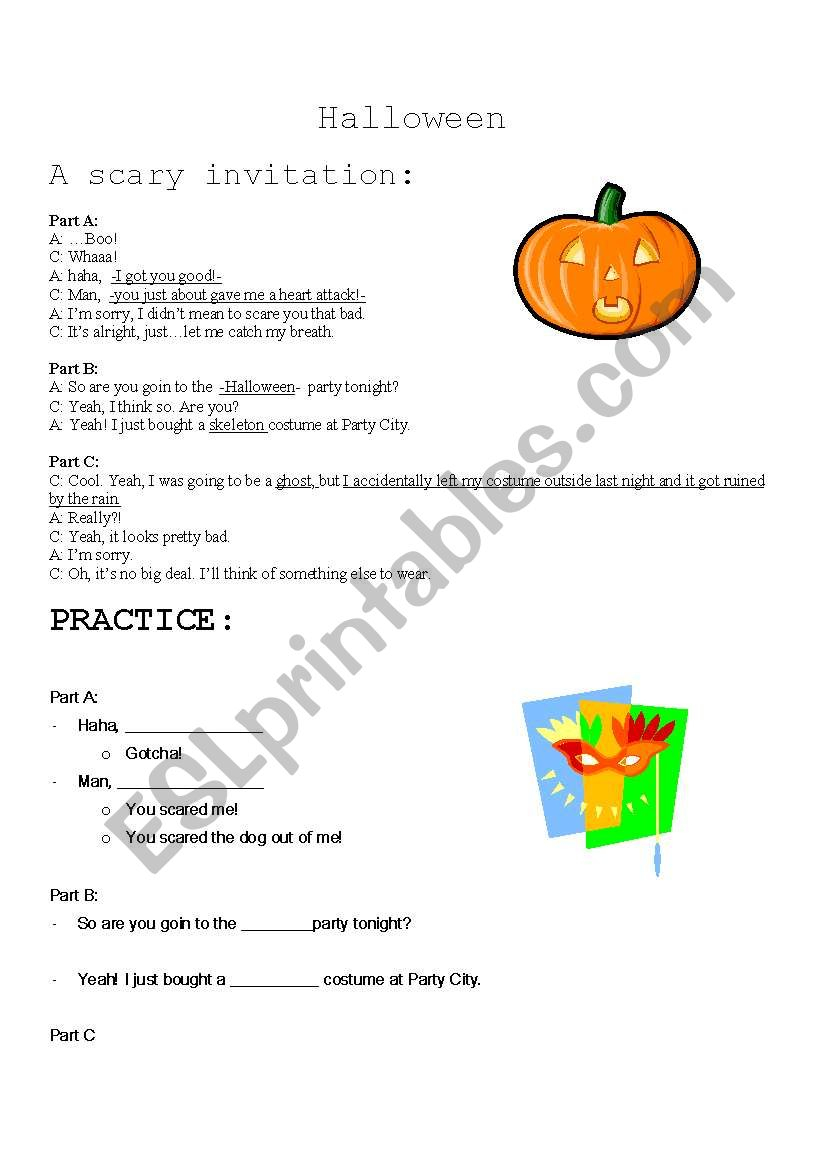 Halloween Dialogue And Practice - Esl Worksheetumbrellastick