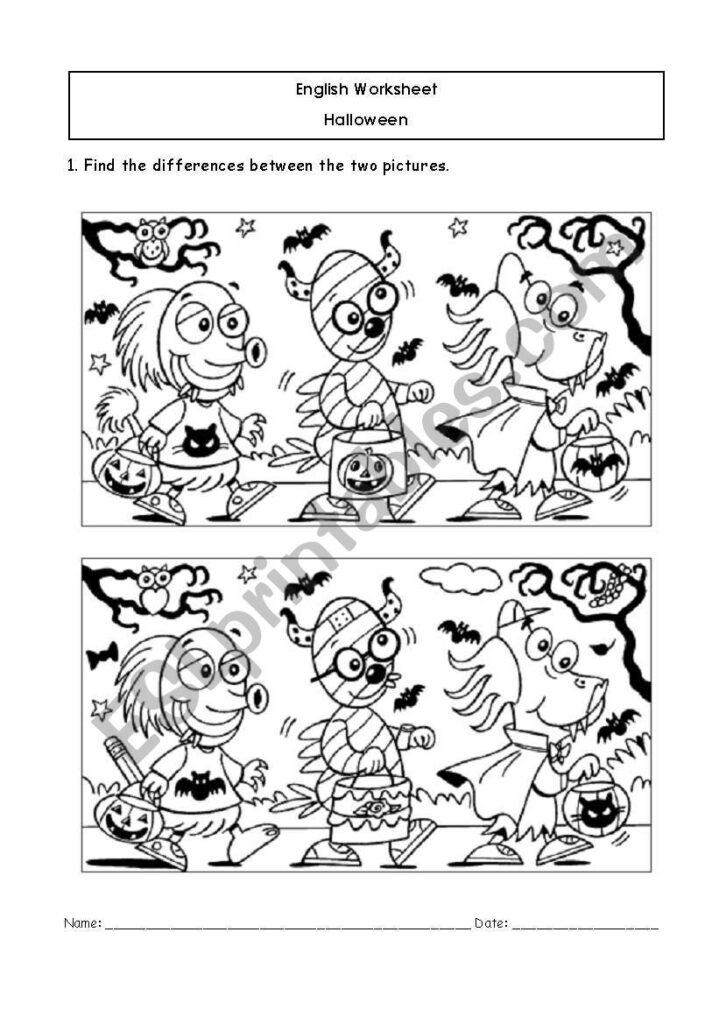 Hallowe´en Differences   Esl Worksheetflupy