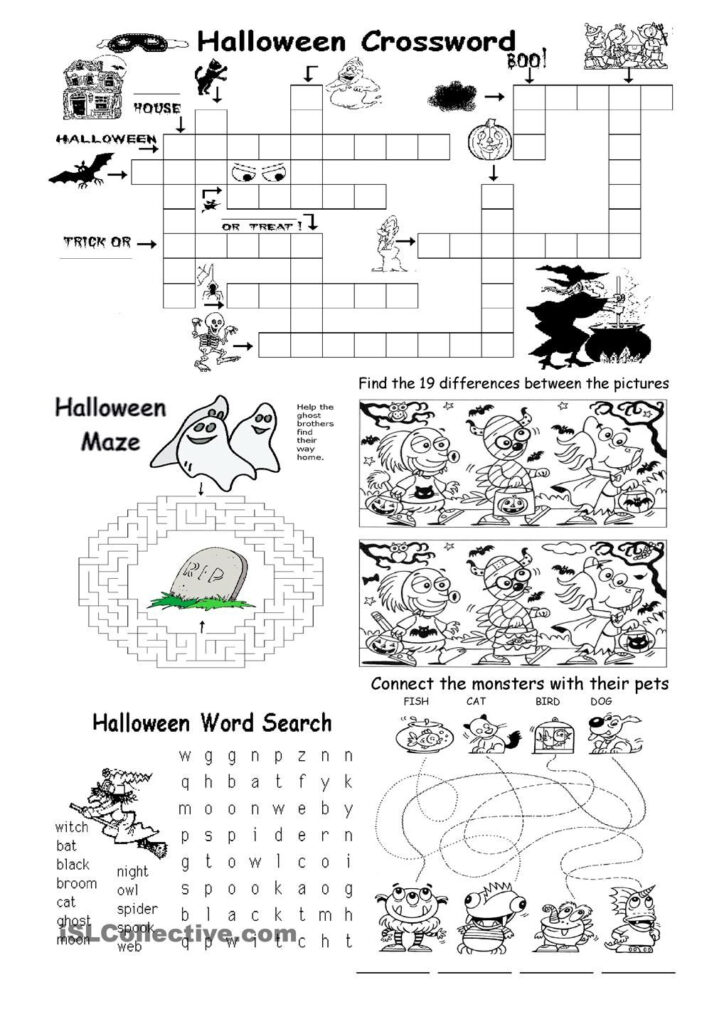 Halloween Different Games | Halloween Worksheets, Halloween