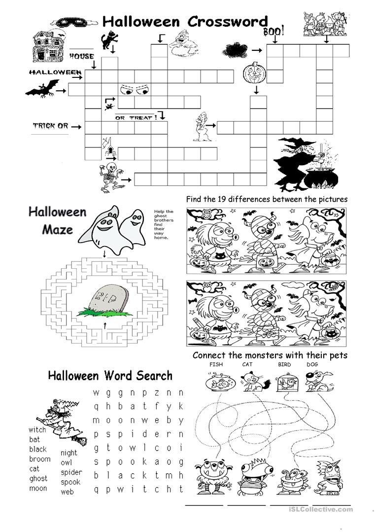 Halloween Different Games Worksheet - Free Esl Printable