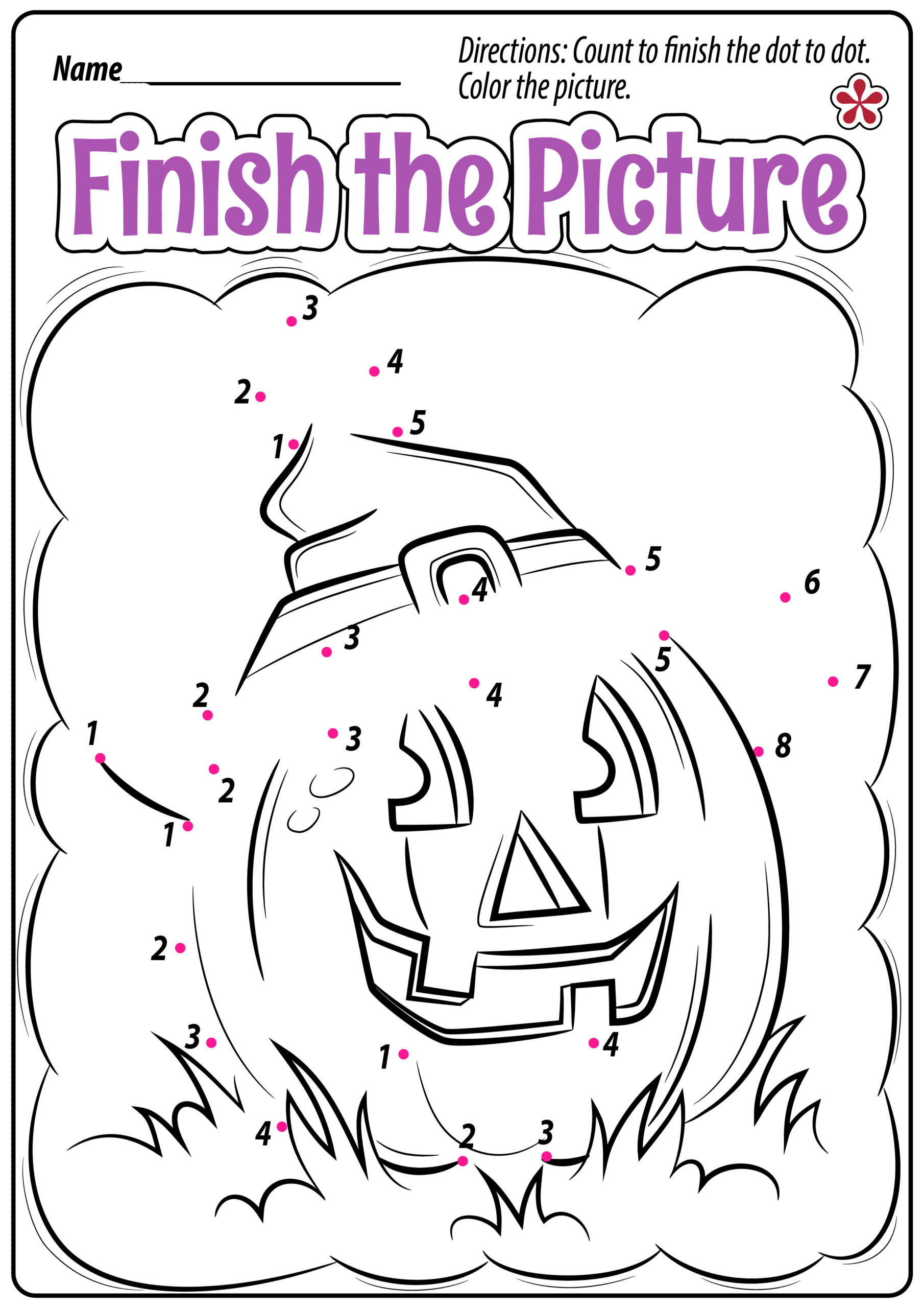 Halloween Dot-To-Dot Worksheets For Preschoolers
