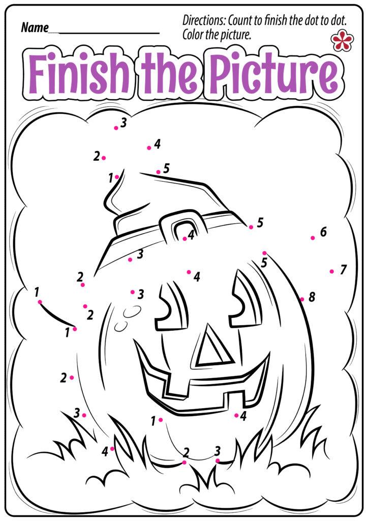 Halloween Dot To Dot Worksheets For Preschoolers