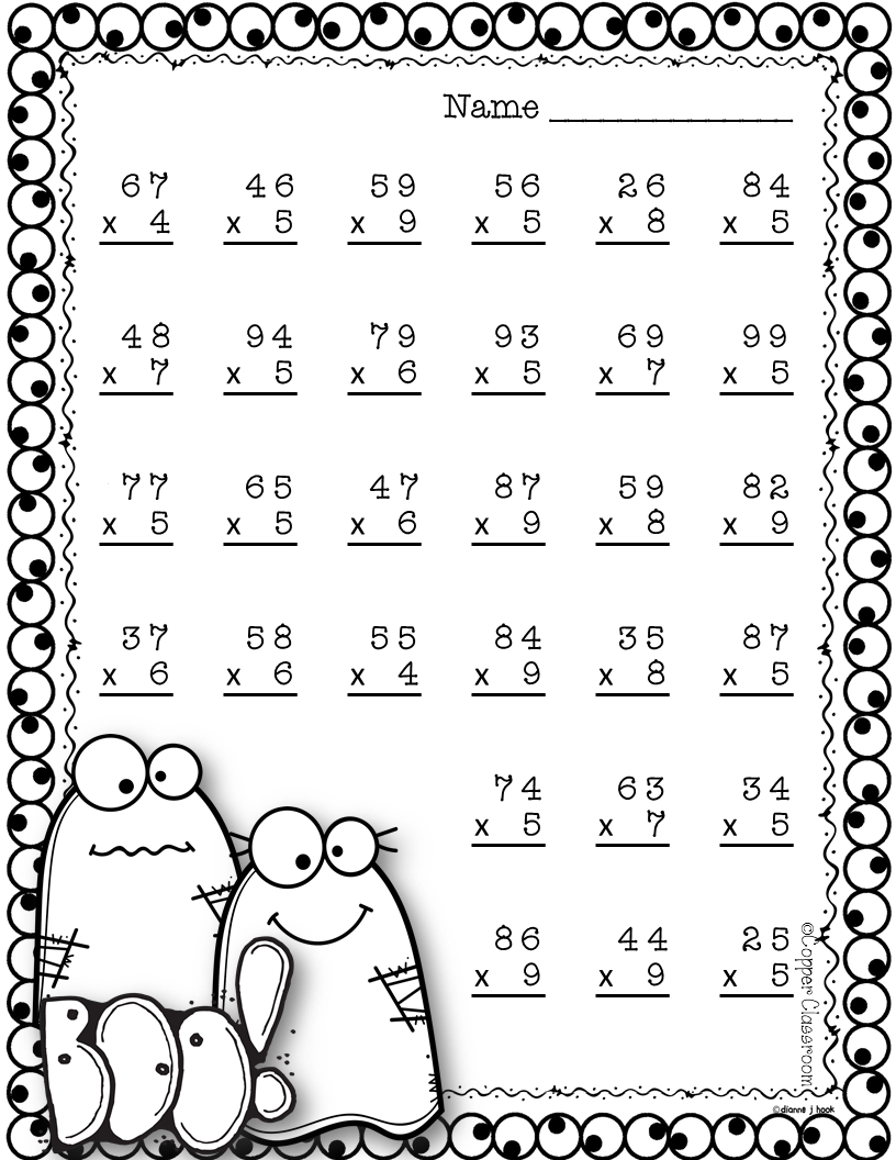 Halloween Double Digit Multiplication With Regrouping, Two