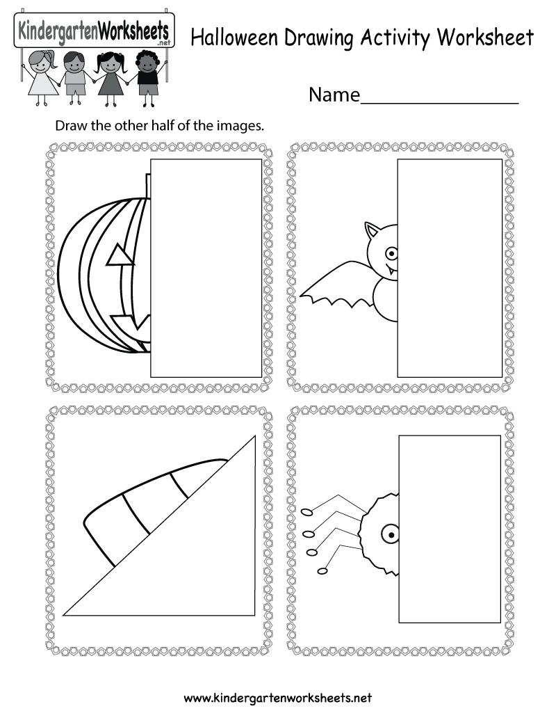 Halloween Drawing Activity Worksheet - Free Kindergarten