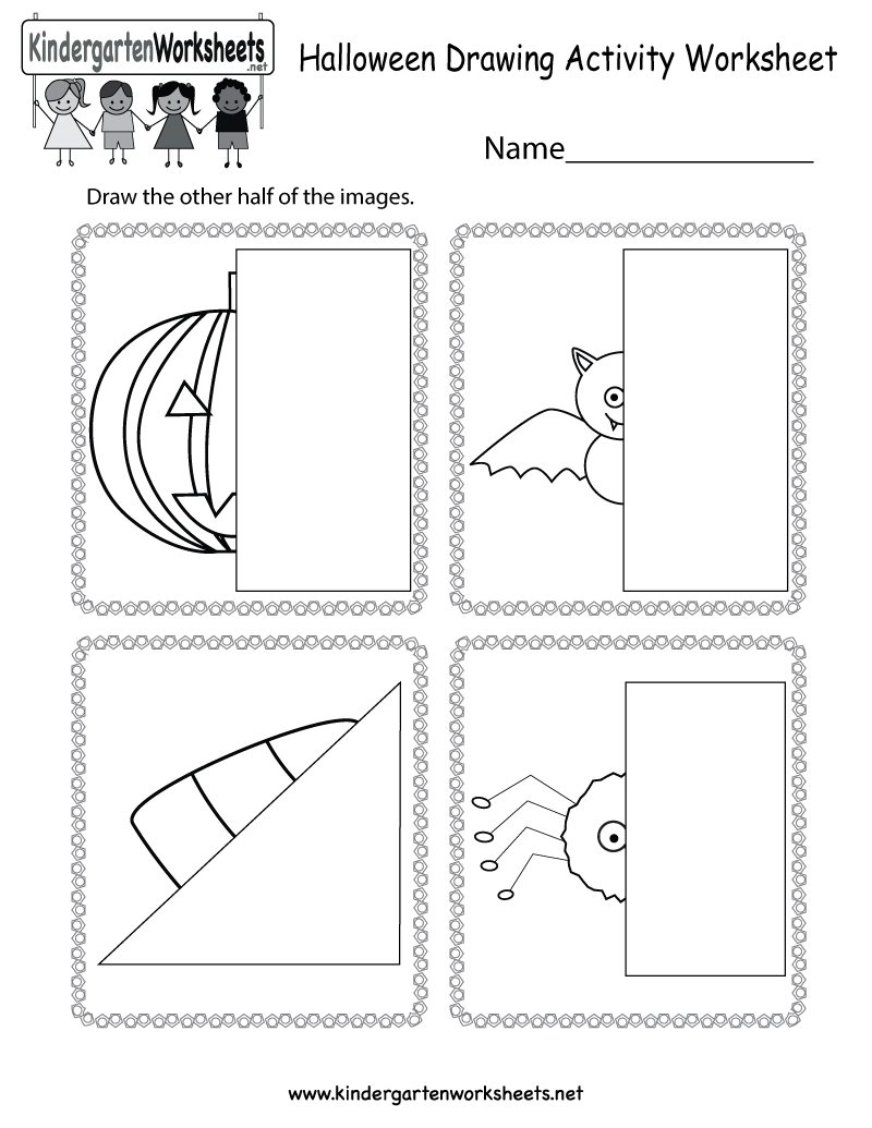 Halloween Drawing Activity Worksheet - Free Kindergarten