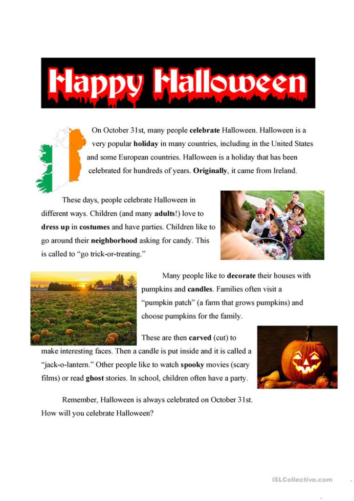 Halloween Easy Text   English Esl Worksheets For Distance