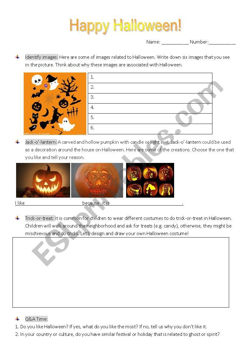 Halloween - Esl Worksheetwow720