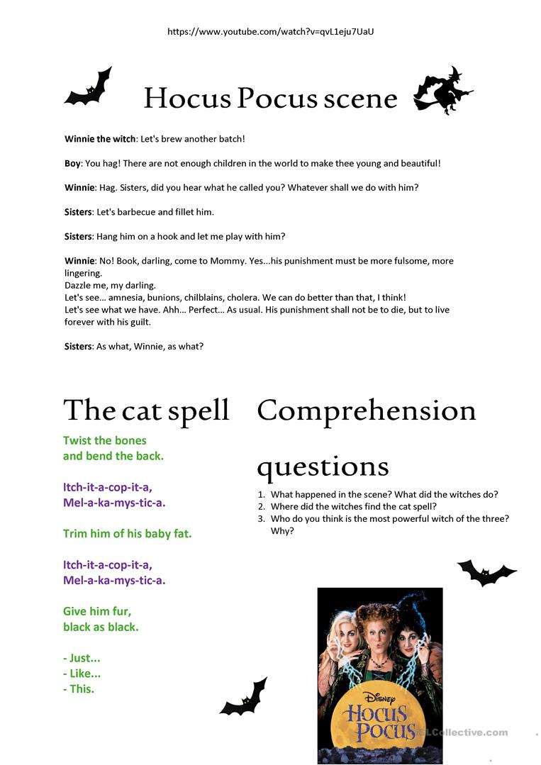 Halloween Exercise - Hocus Pocus Scene - English Esl