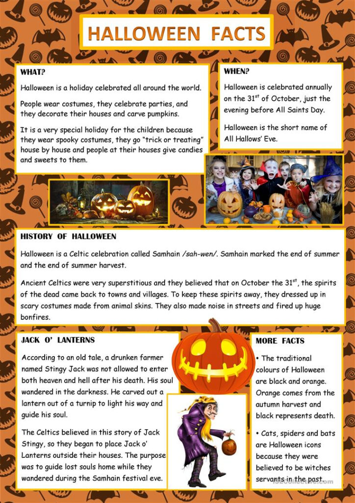 Halloween Facts   English Esl Worksheets For Distance