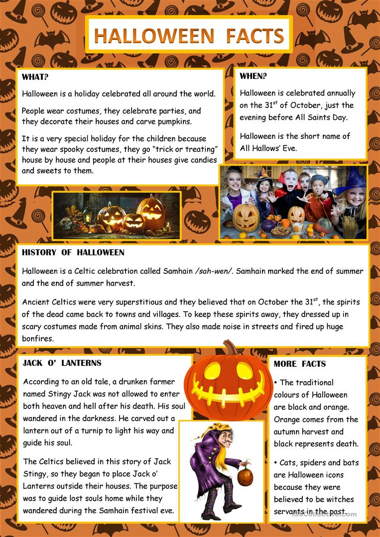 Halloween Facts - English Esl Worksheets For Distance