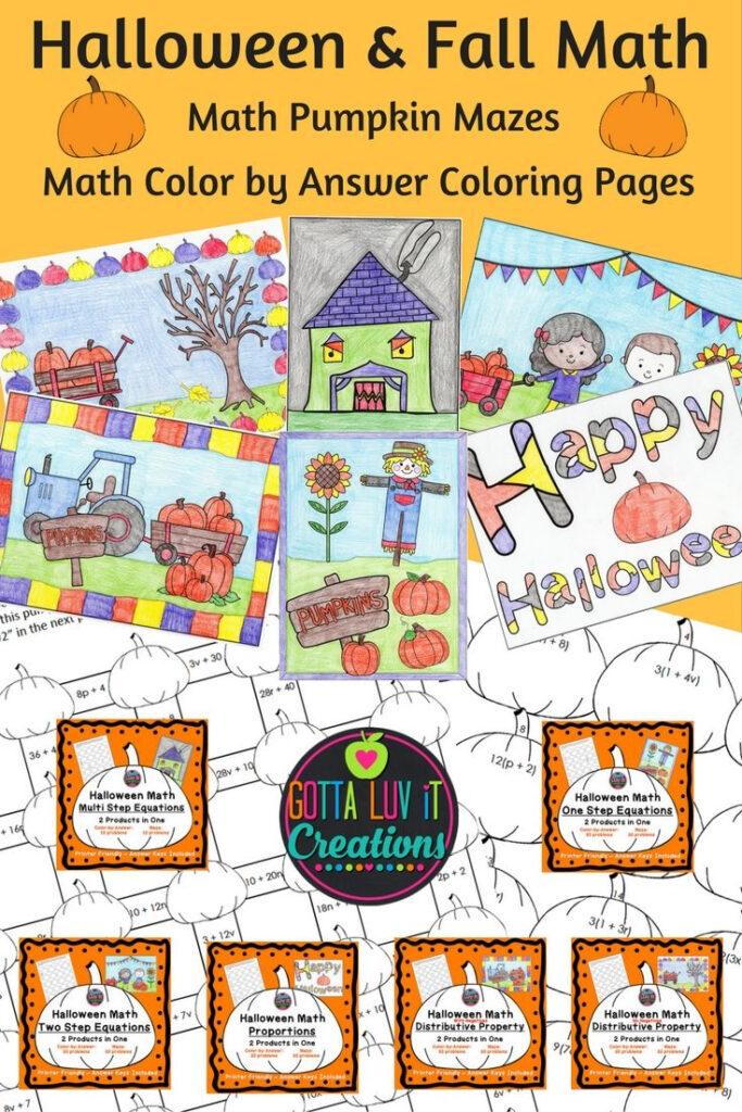 Halloween & Fall Math Pumpkin Maze & Coloranswer