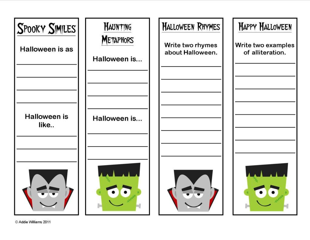 Halloween   Figurative Language / Poetry Practice Bookmarks
