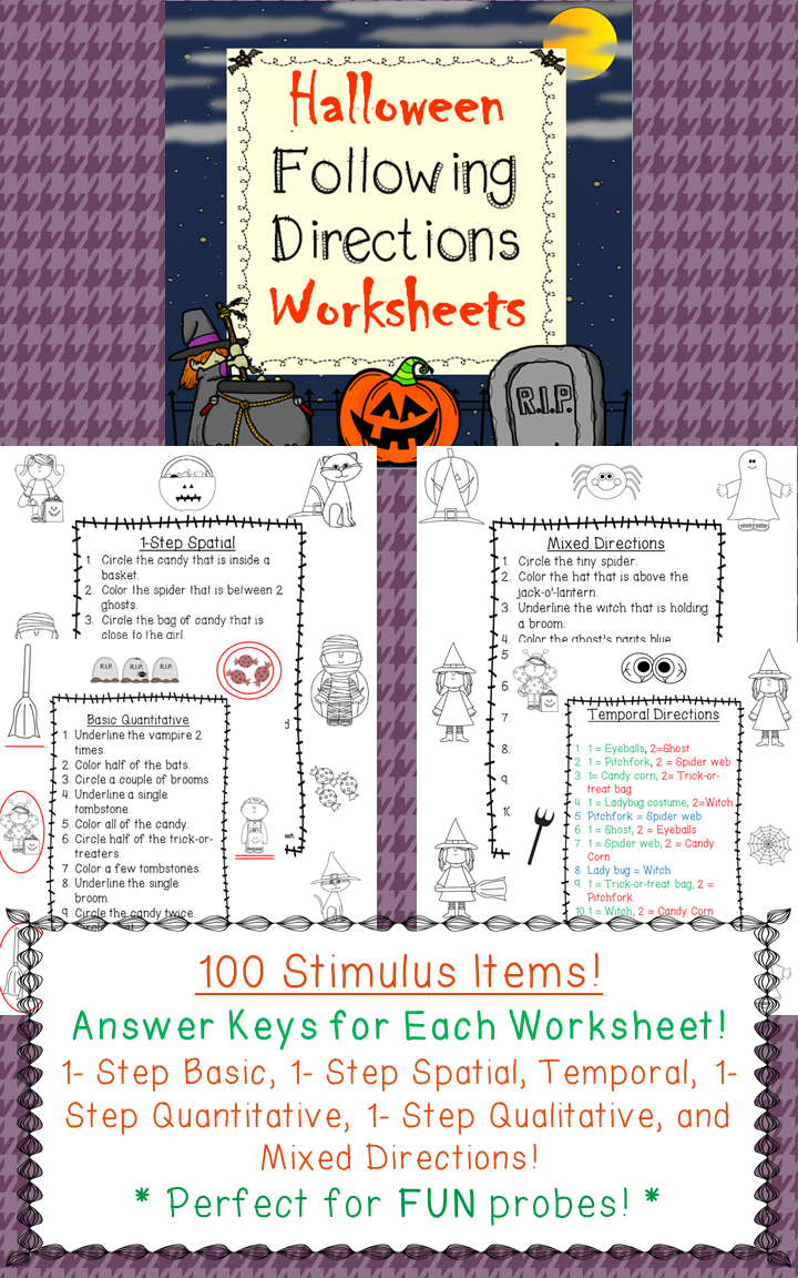 Halloween Following Directions Worksheets For Speech Therapy