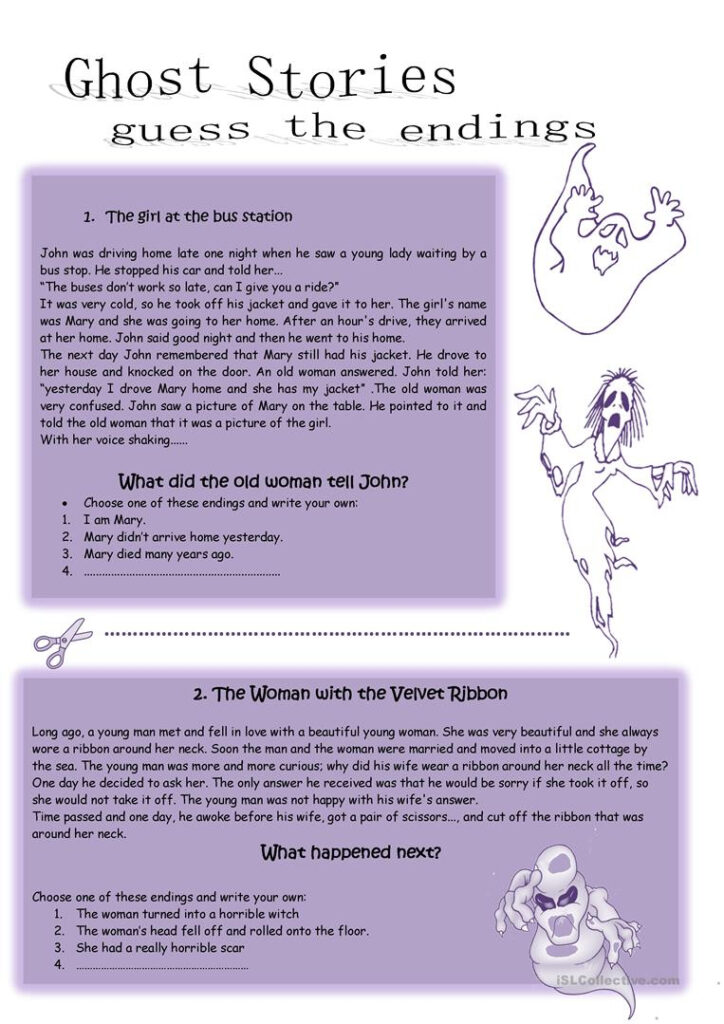 Halloween Ghost Stories   English Esl Worksheets For