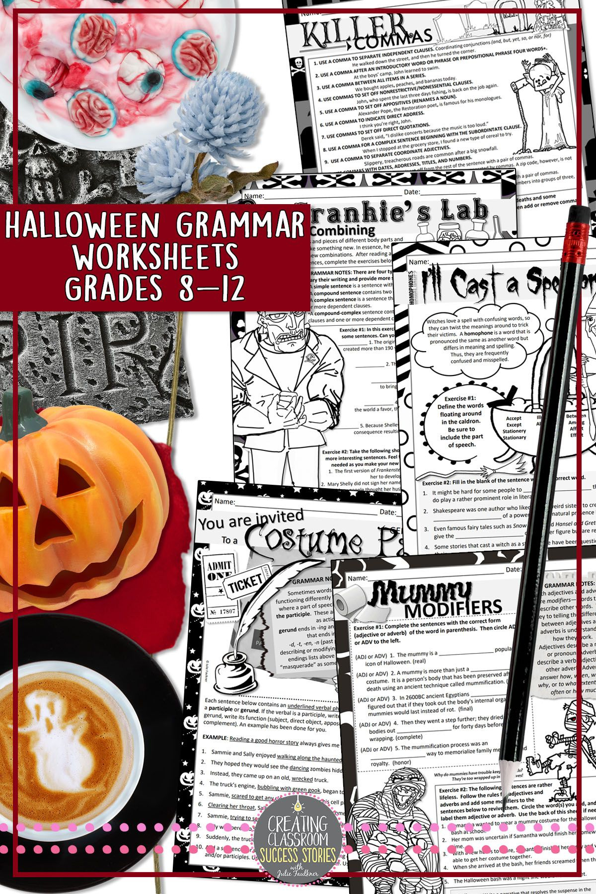 Halloween Grammar Worksheets, No Prep, Middle And High