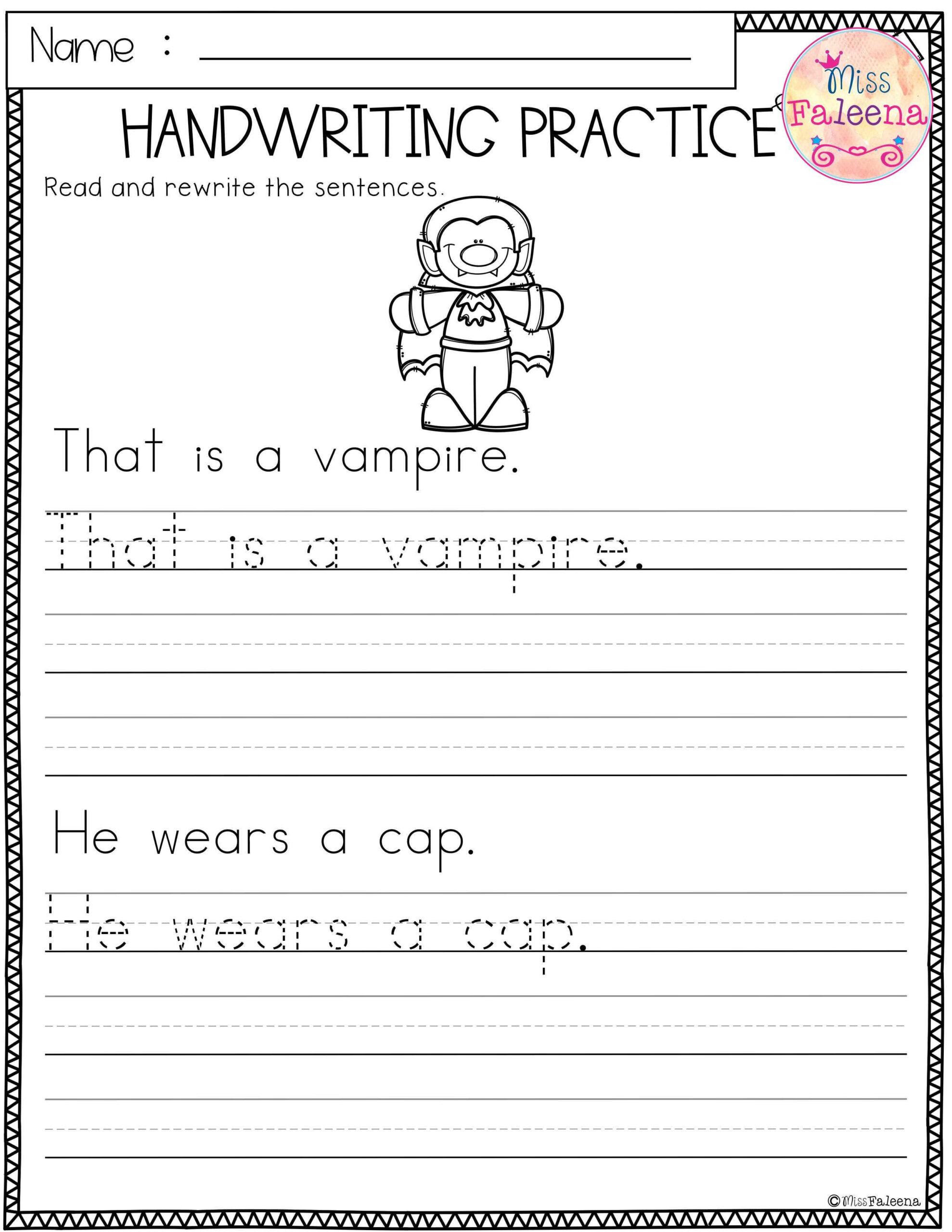 Halloween Handwriting Practice | Writing Practice Worksheets