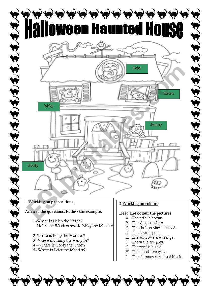 Halloween Haunted House.colour & Extra Activities.print