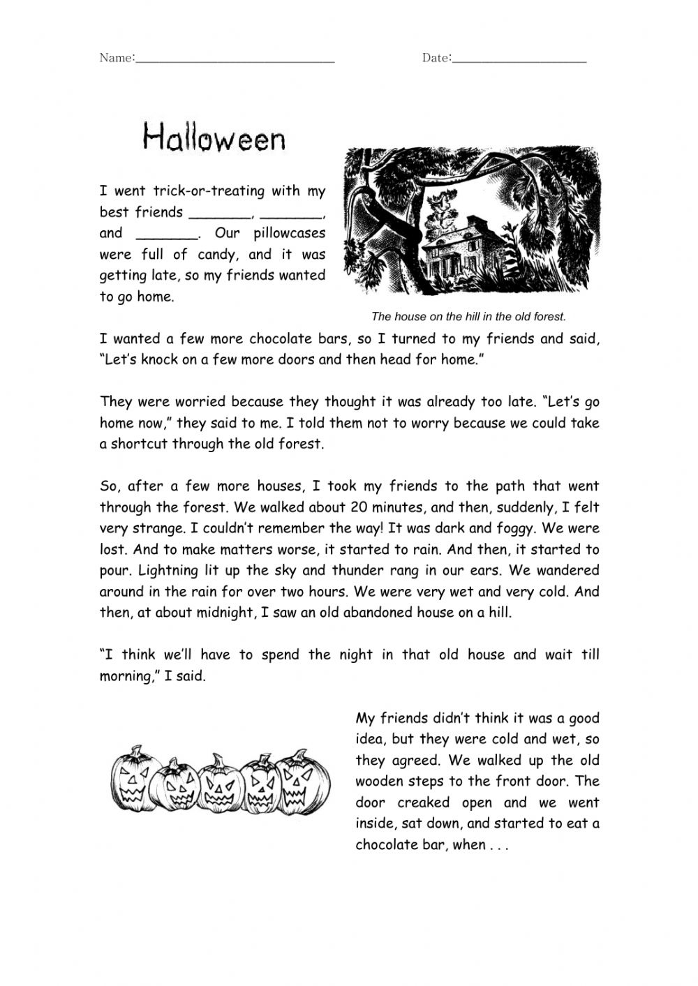 Halloween Haunted House, The Story Worksheet
