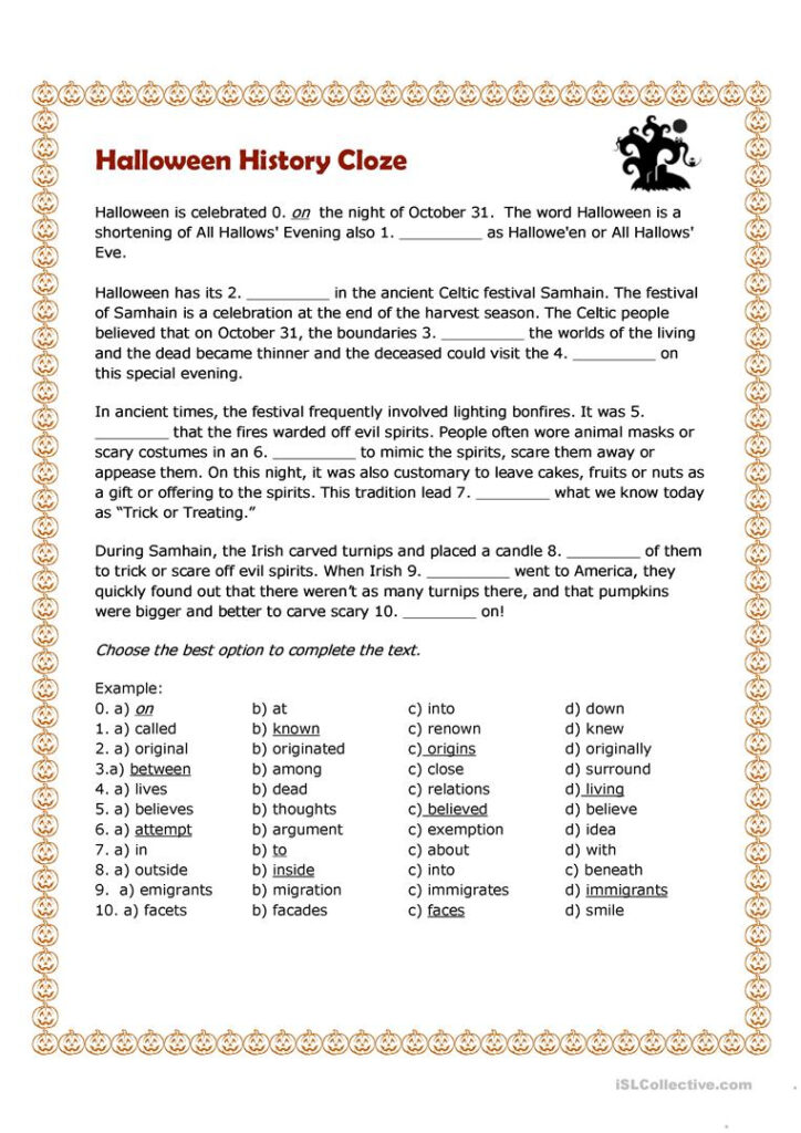 Halloween History Cloze   English Esl Worksheets For