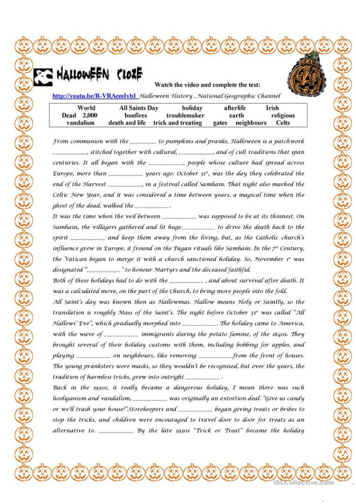 Halloween History   English Esl Worksheets For Distance