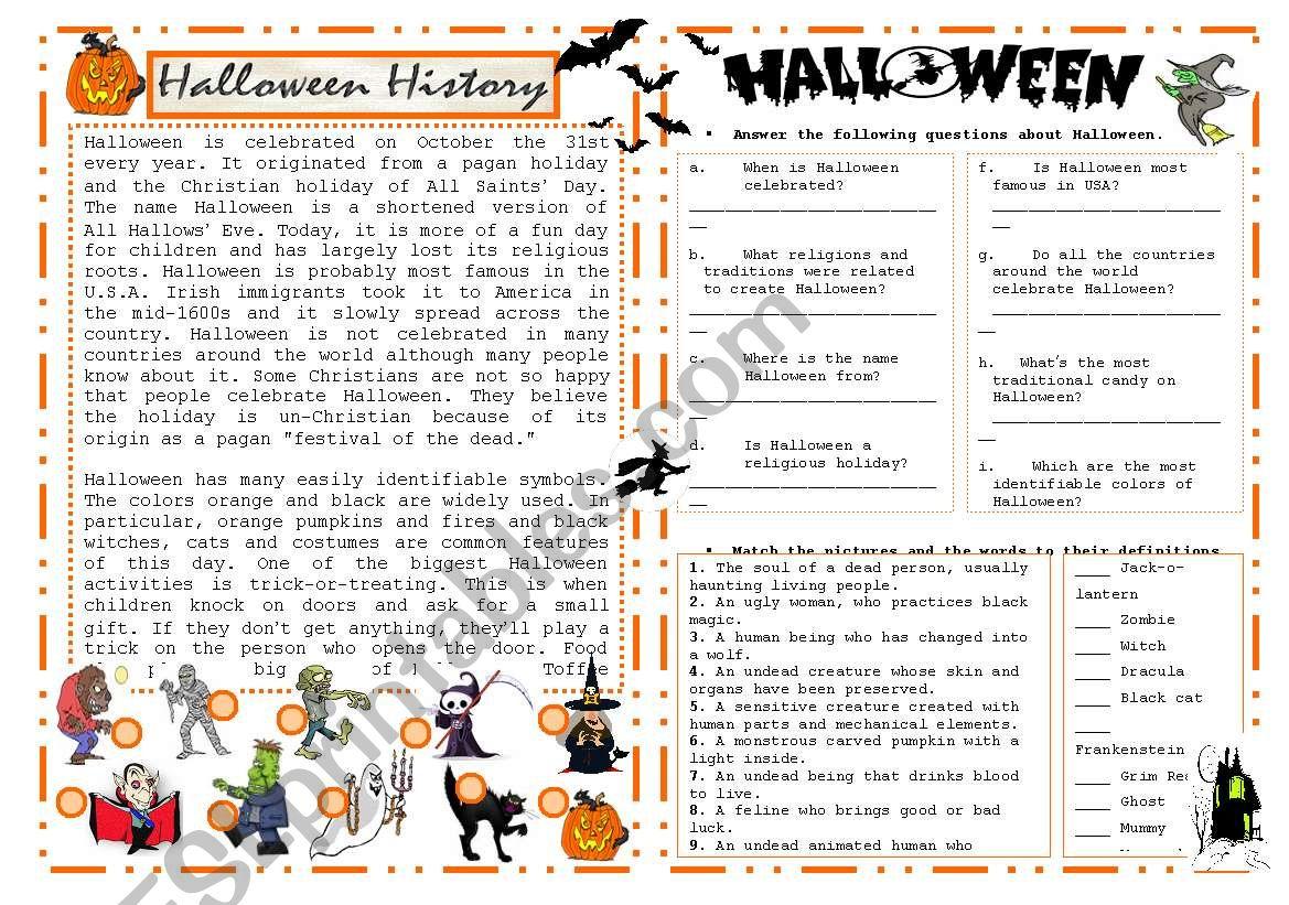 Halloween History - Esl Worksheetchrysty1477