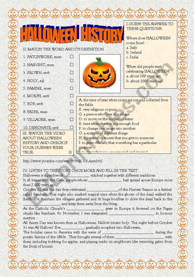 Halloween History - Esl Worksheettiinata