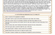 Halloween English Worksheets Middle School