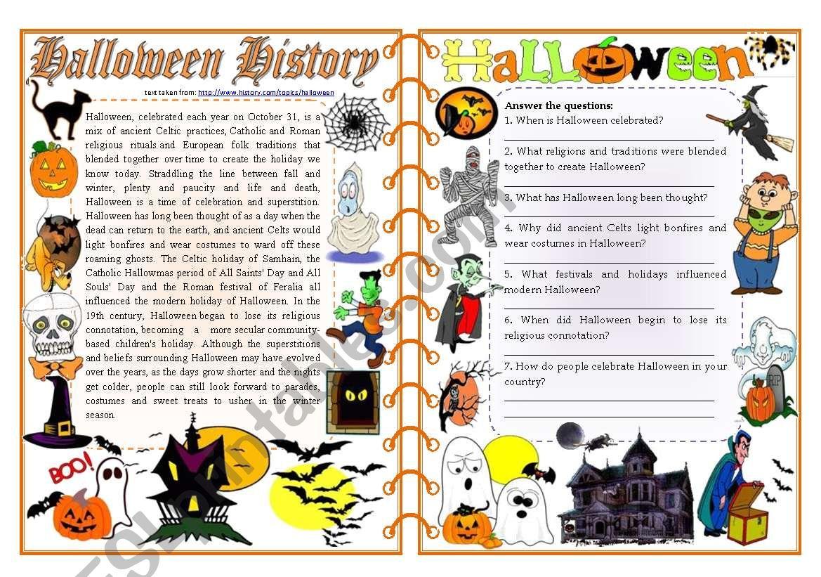 Halloween History - Reading Comprehension, Vocabulary