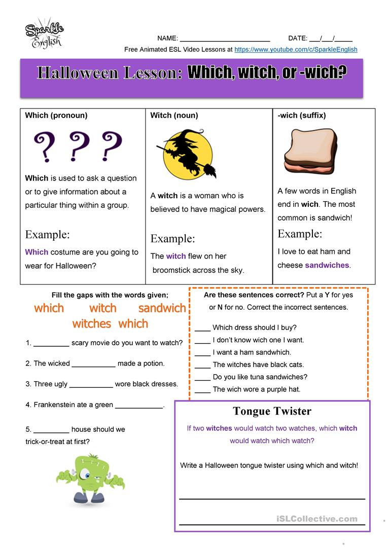 Halloween Homonyms Lesson - Which, Witch, Or -Wich? Esl