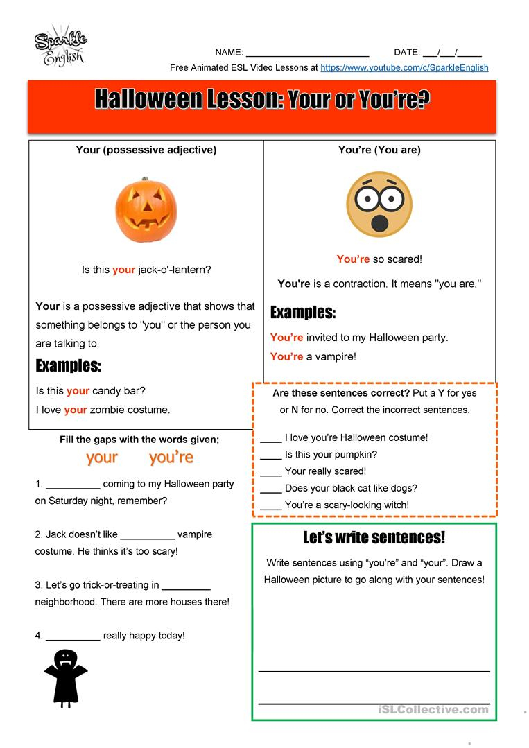 Halloween Homonyms Lesson - Your Or You're? Esl Spelling And