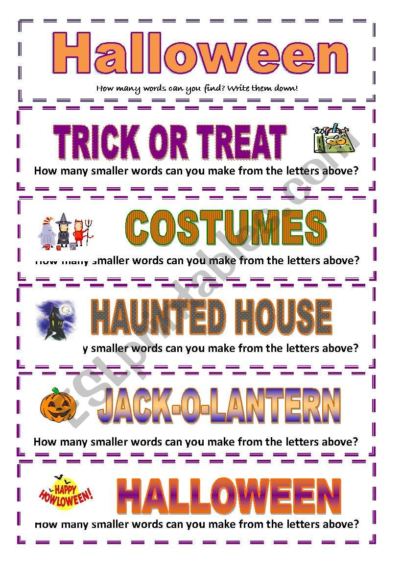 Halloween: How Many Smaller Words Can You Make? (3 Pages